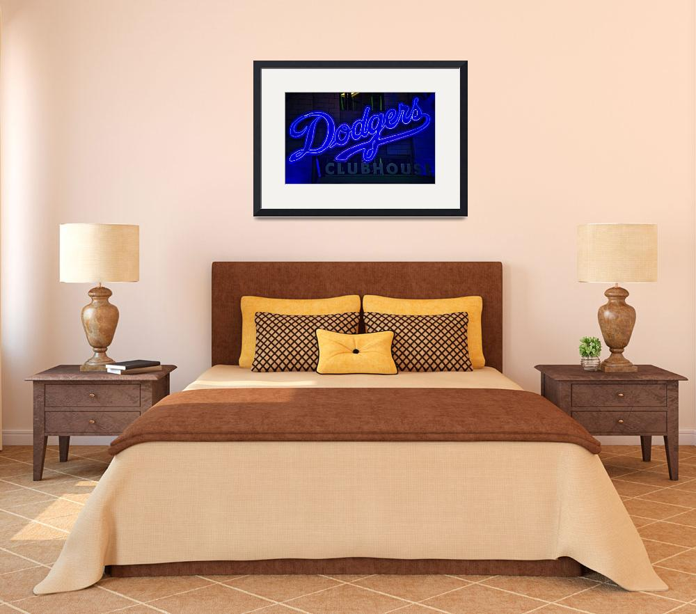 """""""Dodgers Clubhouse in Neon Lights&quot  (2019) by LynnBauer"""