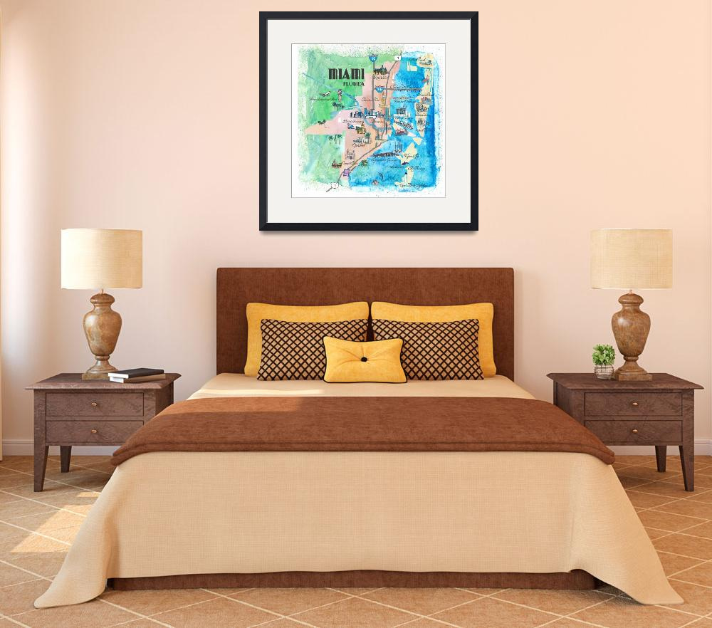 """Miami Fine Art Print Retro Vintage Map&quot  by arthop77"