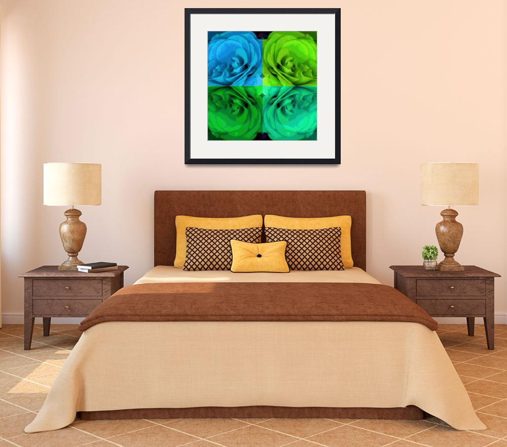 """Majid 4x4 Roses blue green center rotated""  (2009) by LeslieTillmann"