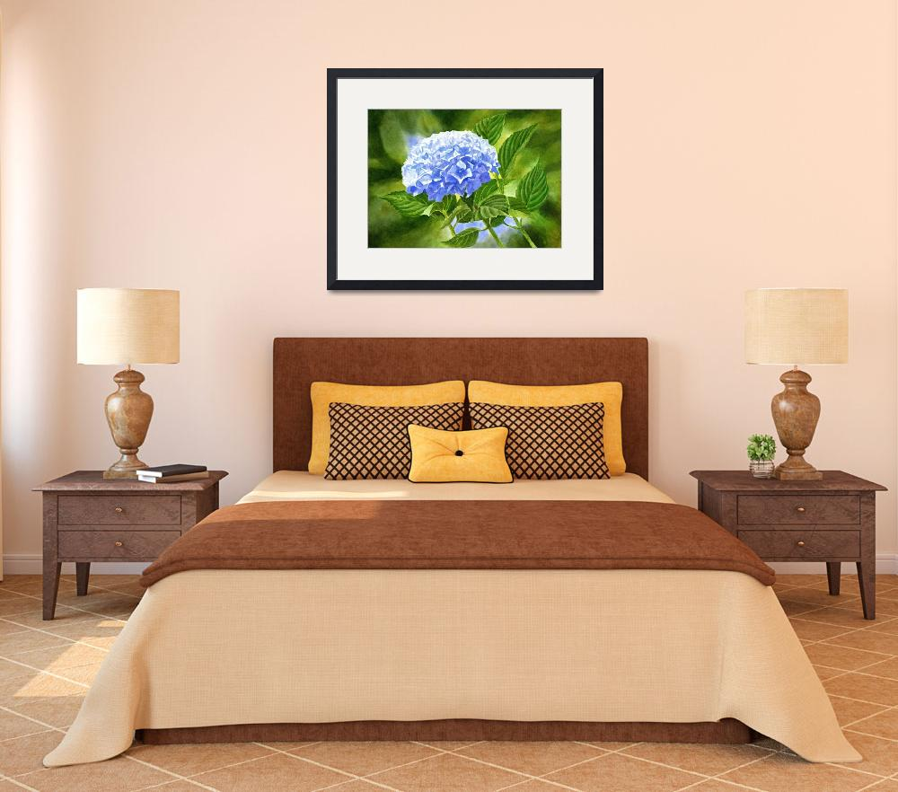 """""""Blue Hydrangea Blossom with Background&quot  (2016) by Pacific-NW-Watercolors"""