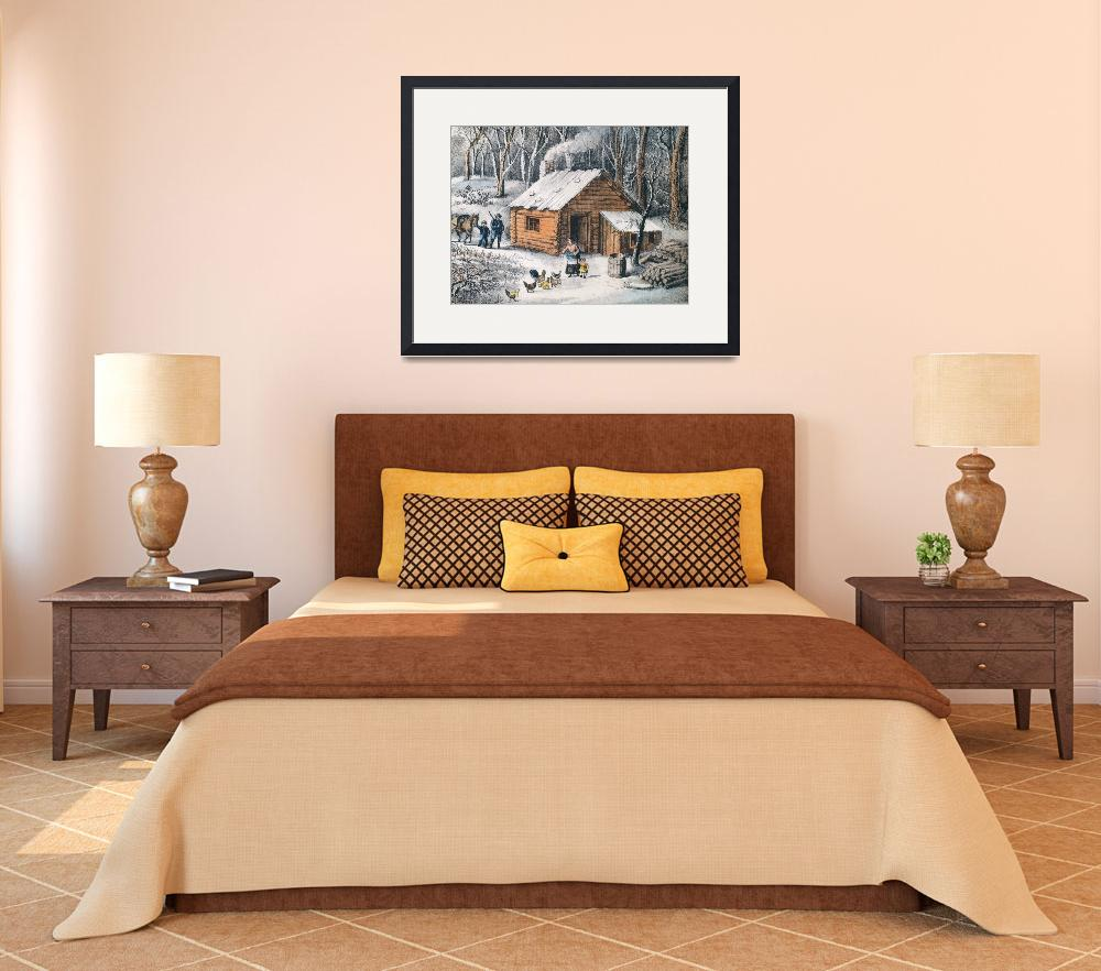 """Vintage Home in The Wilderness Painting (1870)""  by Alleycatshirts"