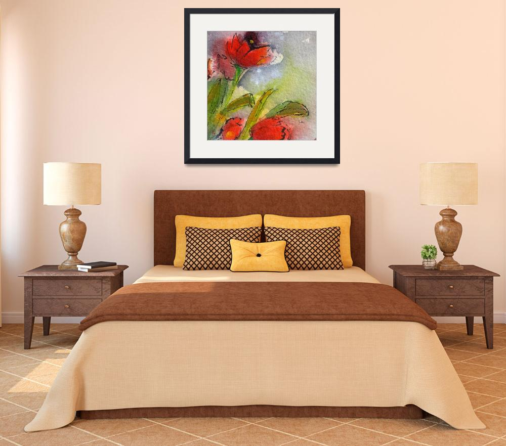 """""""Red Tulips Modern Decor Square Abstract by Ginette""""  (2012) by GinetteCallaway"""