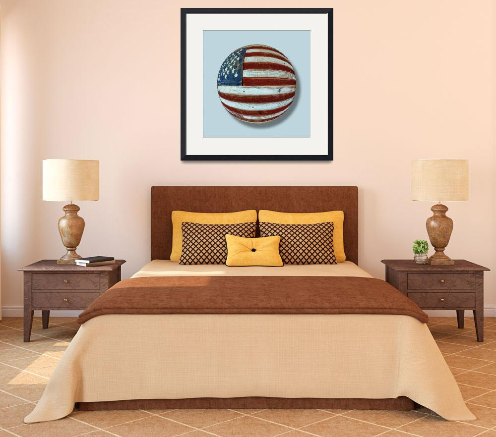 """American Flag Wood Orb""  (2013) by RubinoFineArt"