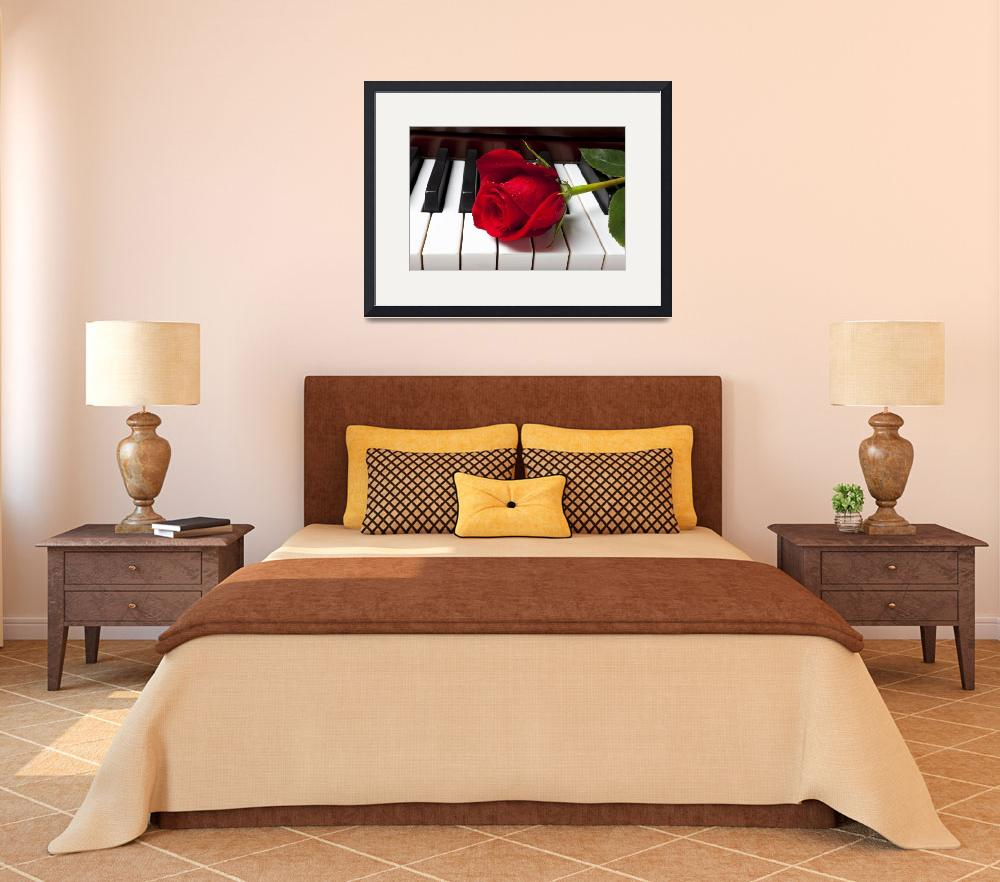 """""""Red rose on piano keys&quot  (2012) by photogarry"""