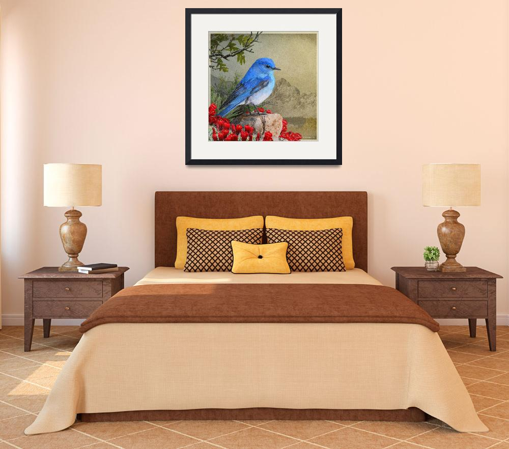 """""""mountain bluebird and claret cup&quot  (2017) by rchristophervest"""