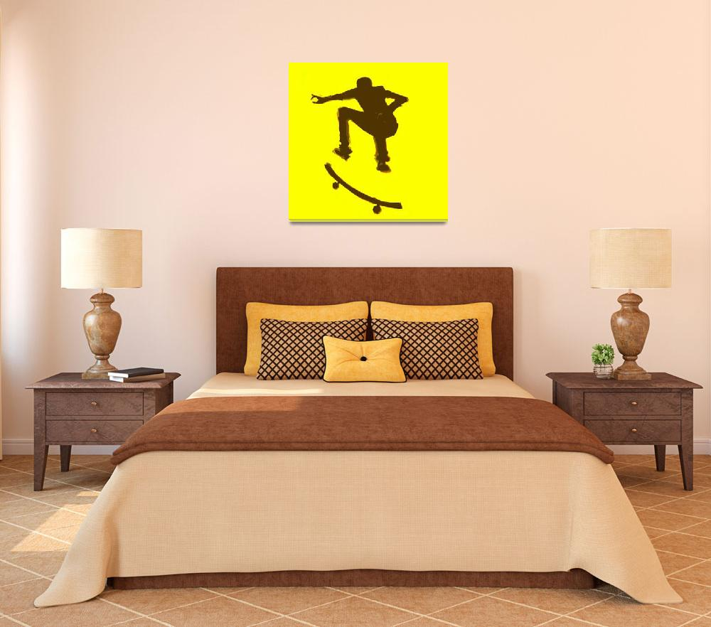 """""""Skateboarder 2 . yellow brown (c)&quot  (2014) by edmarion"""