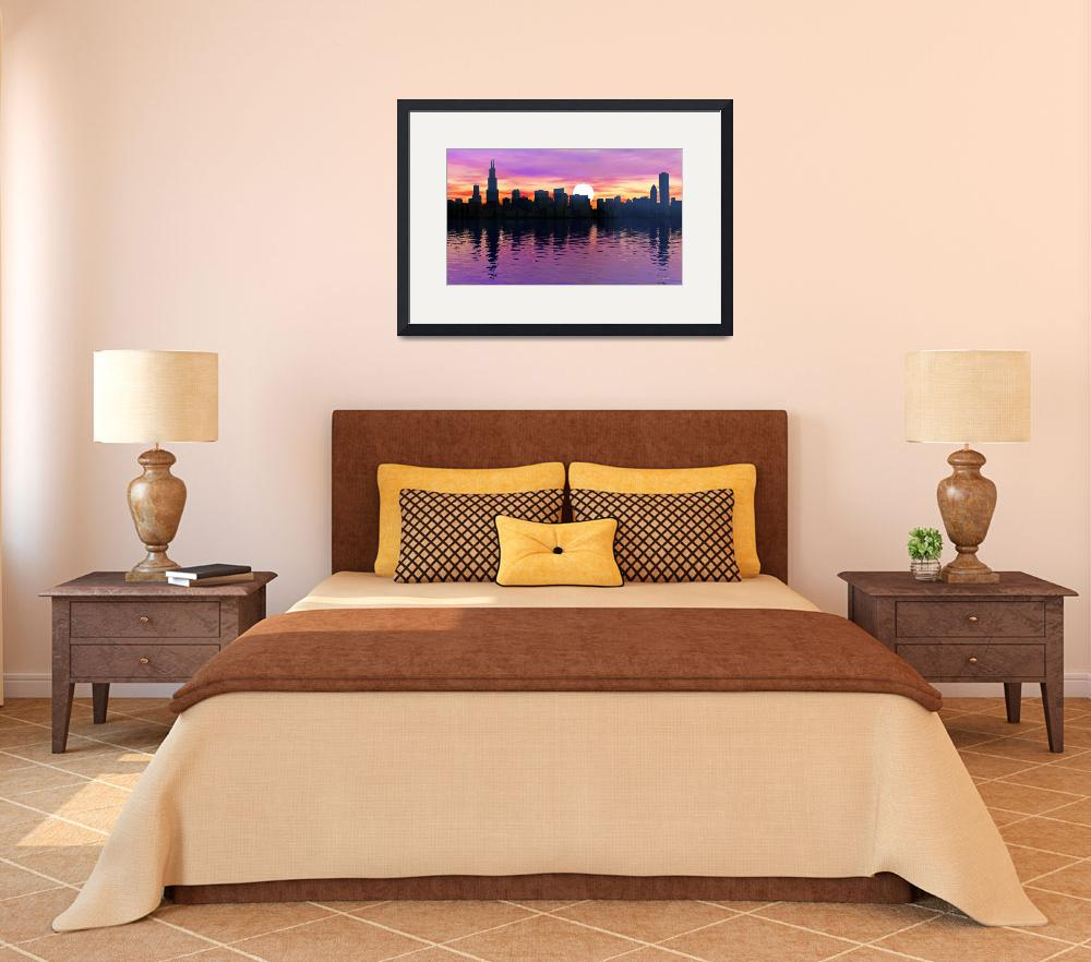 """Chicago Skyline - Sunrise""  (2011) by Chicagoartist1"