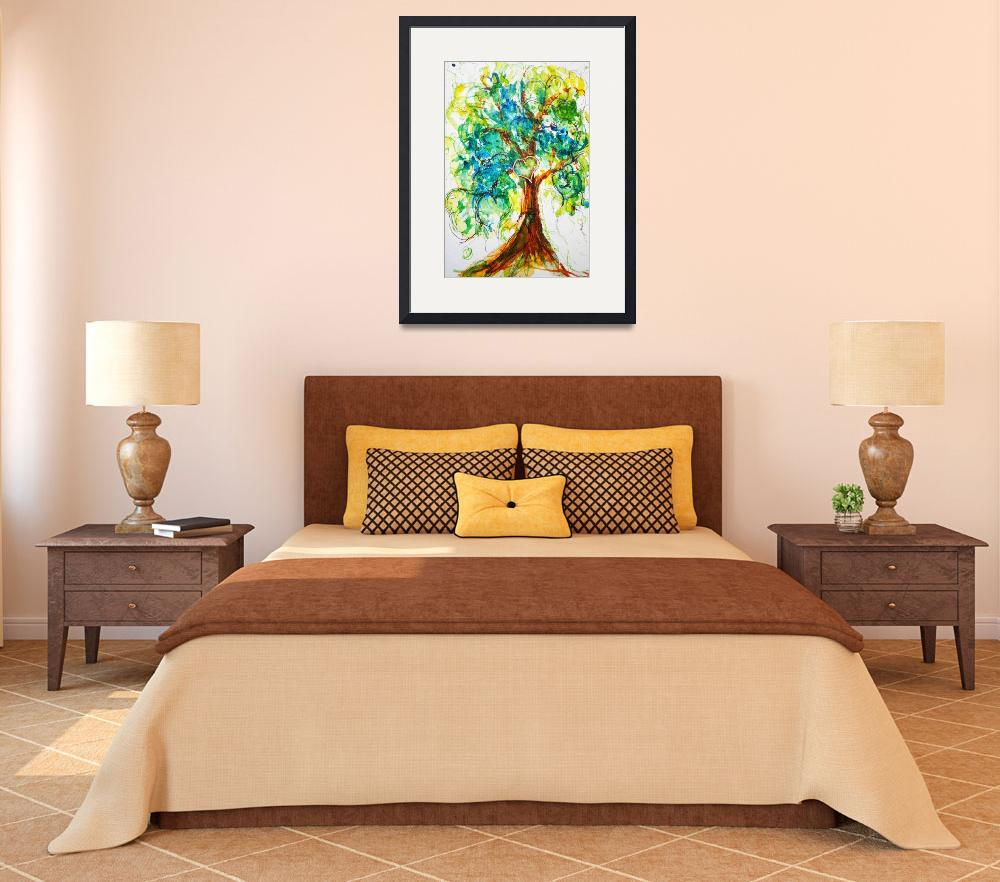 """""""Gold Heart Tree watercolor&quot  (2014) by CheyAnneSexton"""