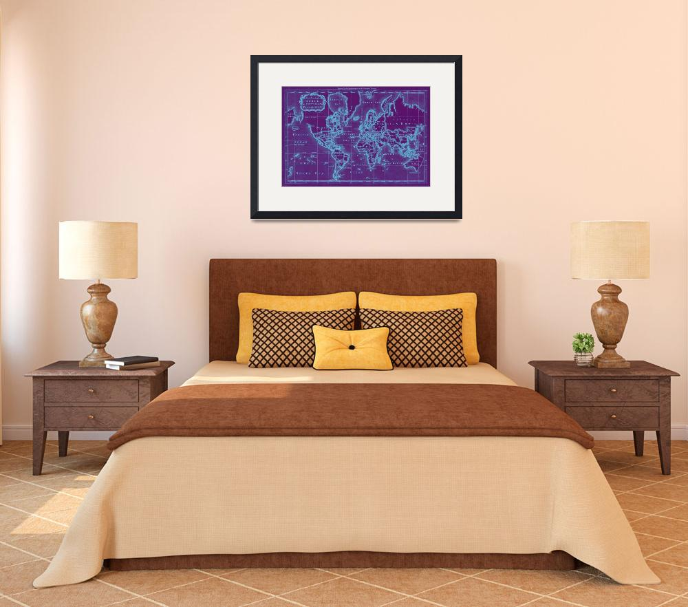 """""""World Map (1766) Purple & White&quot  by Alleycatshirts"""
