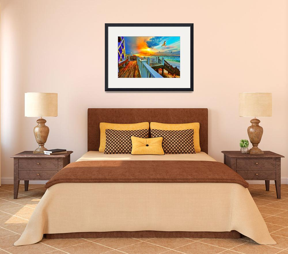"""Colorful Beach Art Print Sunset Landscape Sea Hawk&quot  (2012) by eszra"