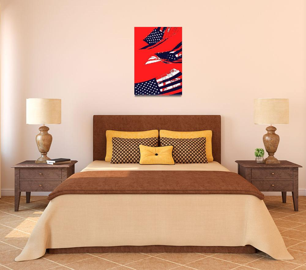 """""""Dynamic Pop Painting of a waving American Flag""""  (2005) by studiodestruct"""
