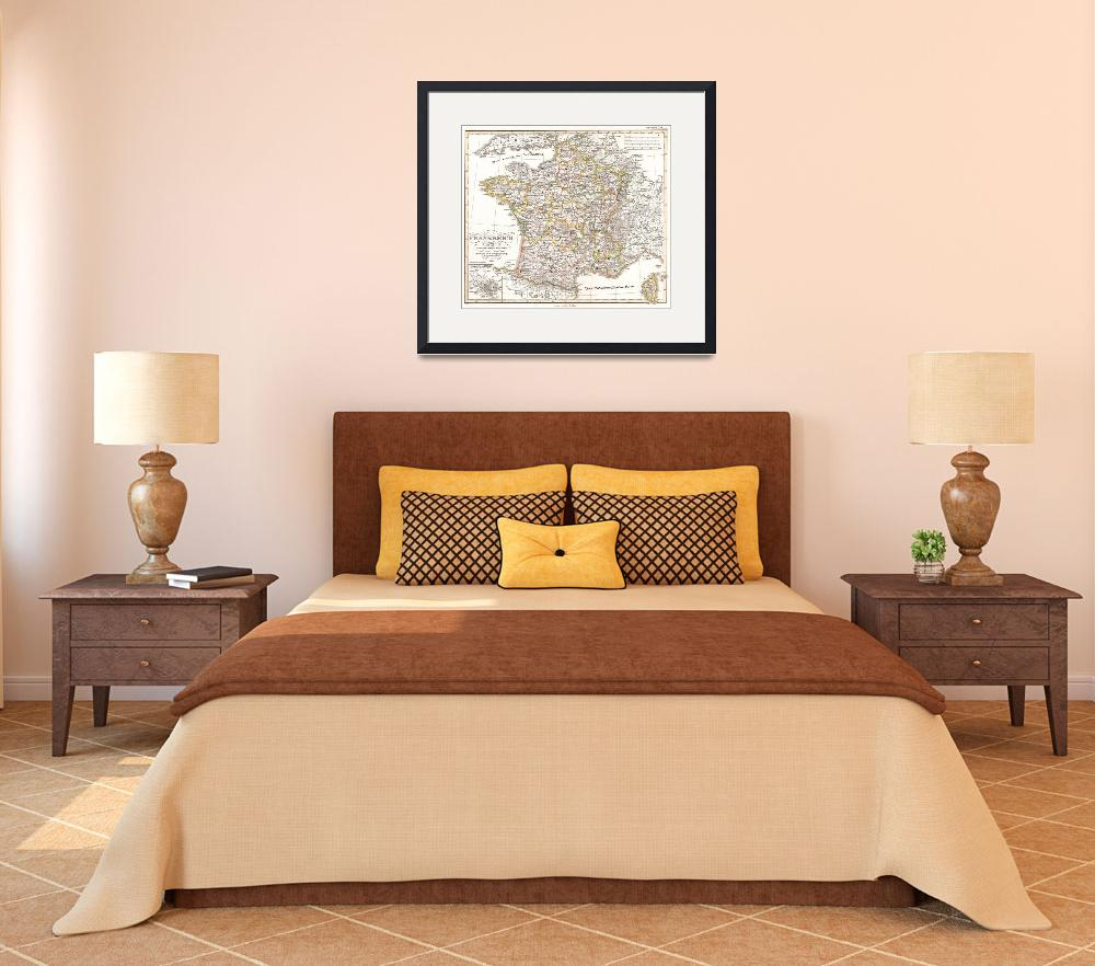 """""""Vintage Map of France (1850)&quot  by Alleycatshirts"""