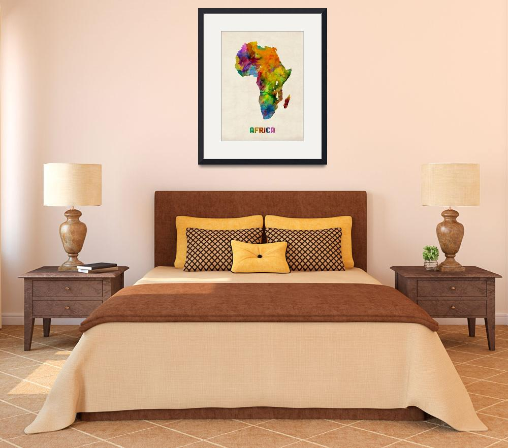 """Africa Watercolor Map&quot  (2013) by ModernArtPrints"