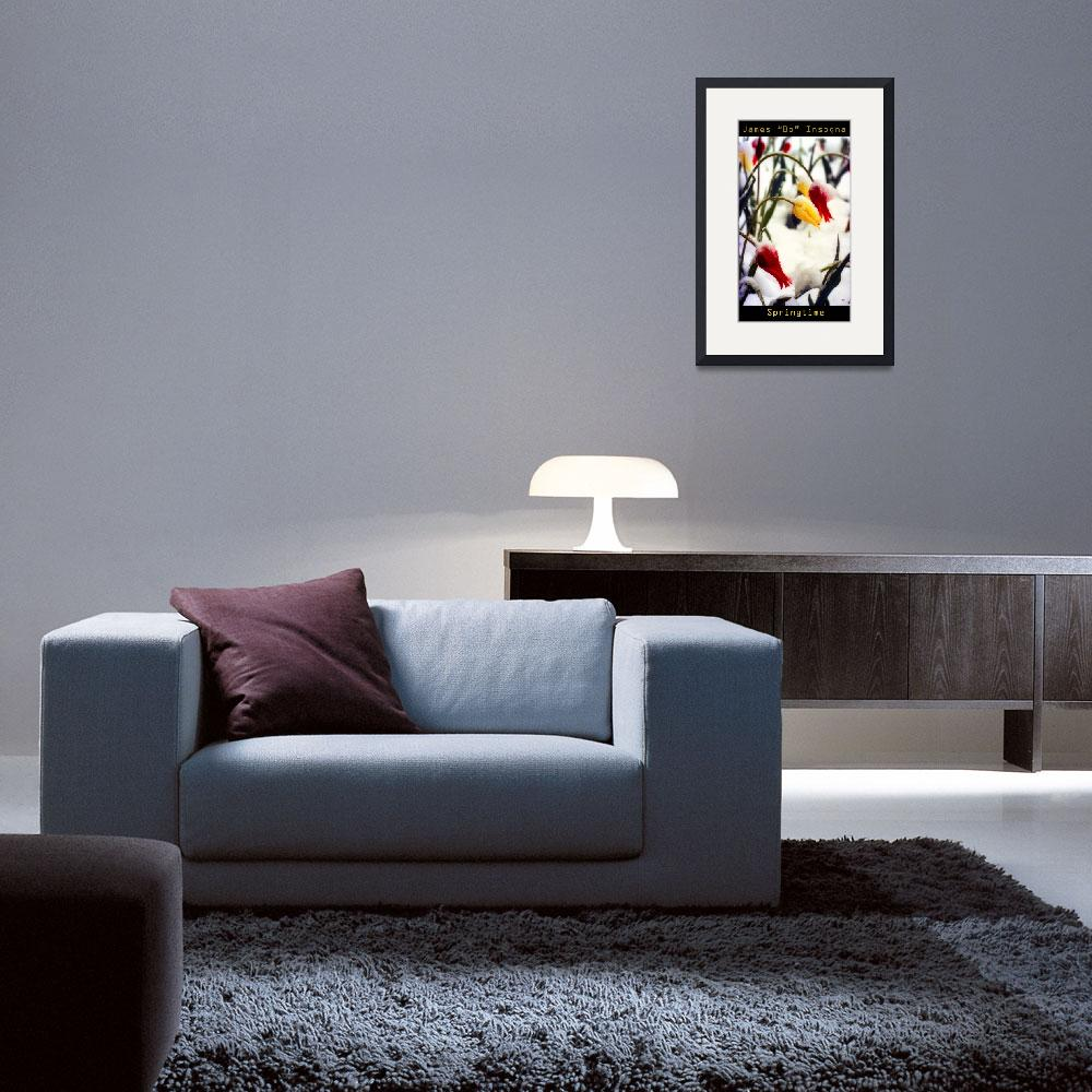 """""""Springtime Tulips in the Snow Poster Print&quot  (1985) by lightningman"""