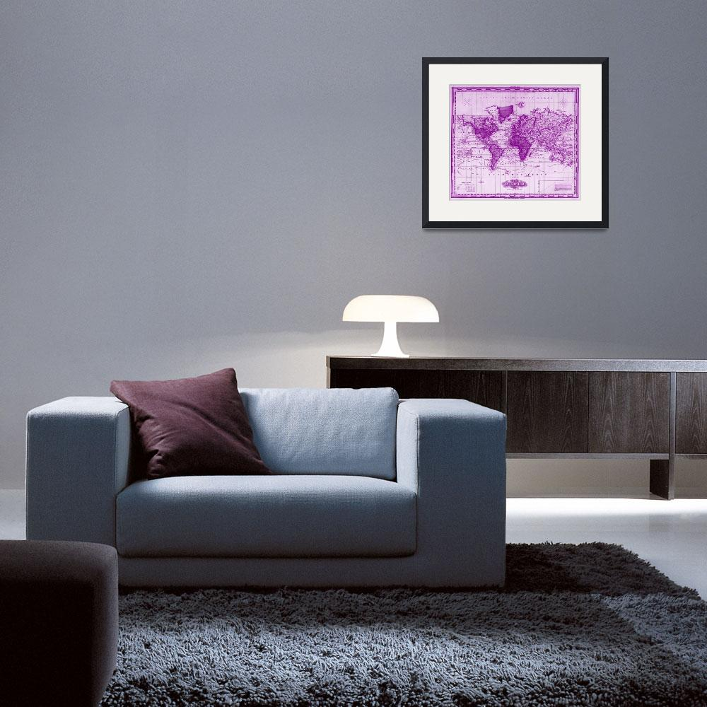 """""""Vintage Map of The World (1833) White & Purple&quot  by Alleycatshirts"""
