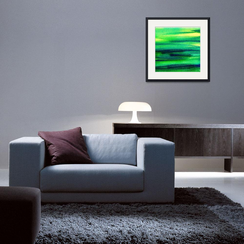 """Green Abstract Landscape Painting Peaceful Flow&quot  (2015) by IrinaSztukowski"