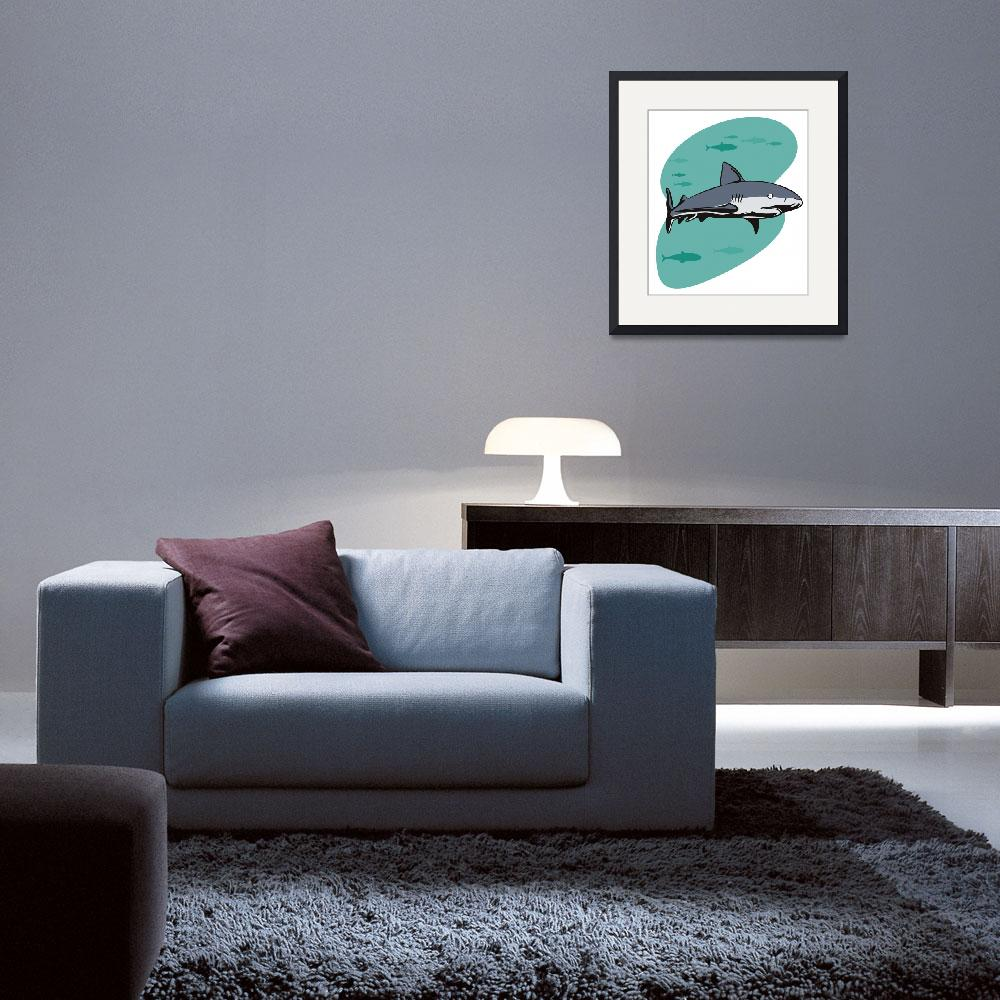 """""""Shark Swimming Side View""""  (2013) by patrimonio"""