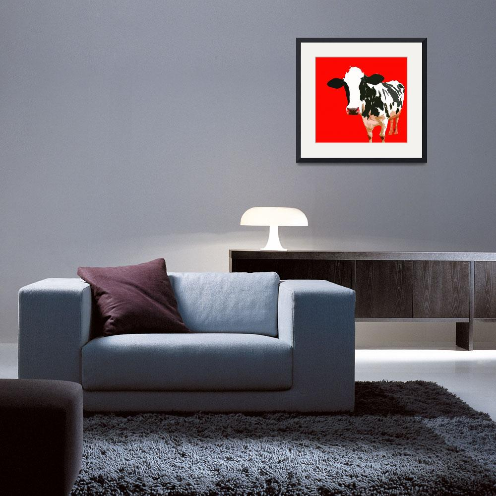 """""""Cow in Red World&quot  (2010) by whitewallgallery"""