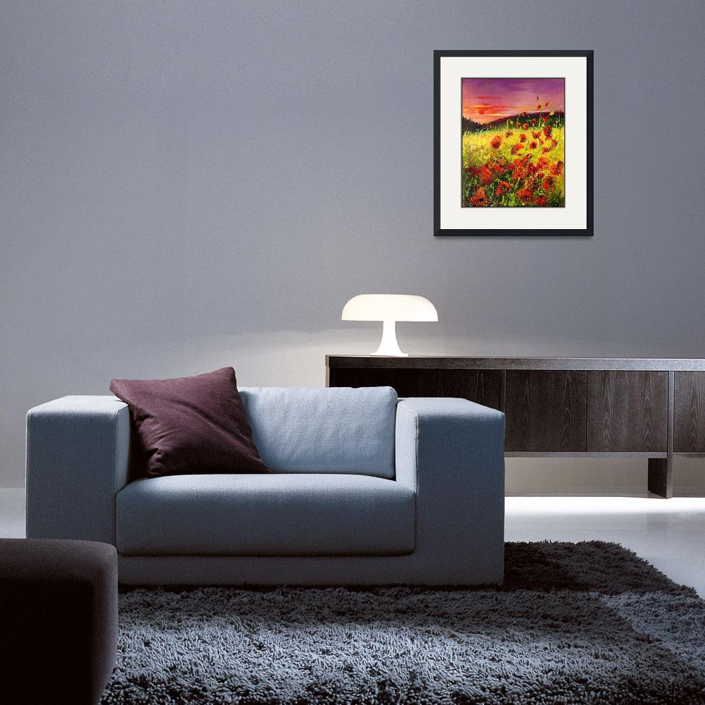 """""""Poppies at sunset&quot  (2006) by pol"""