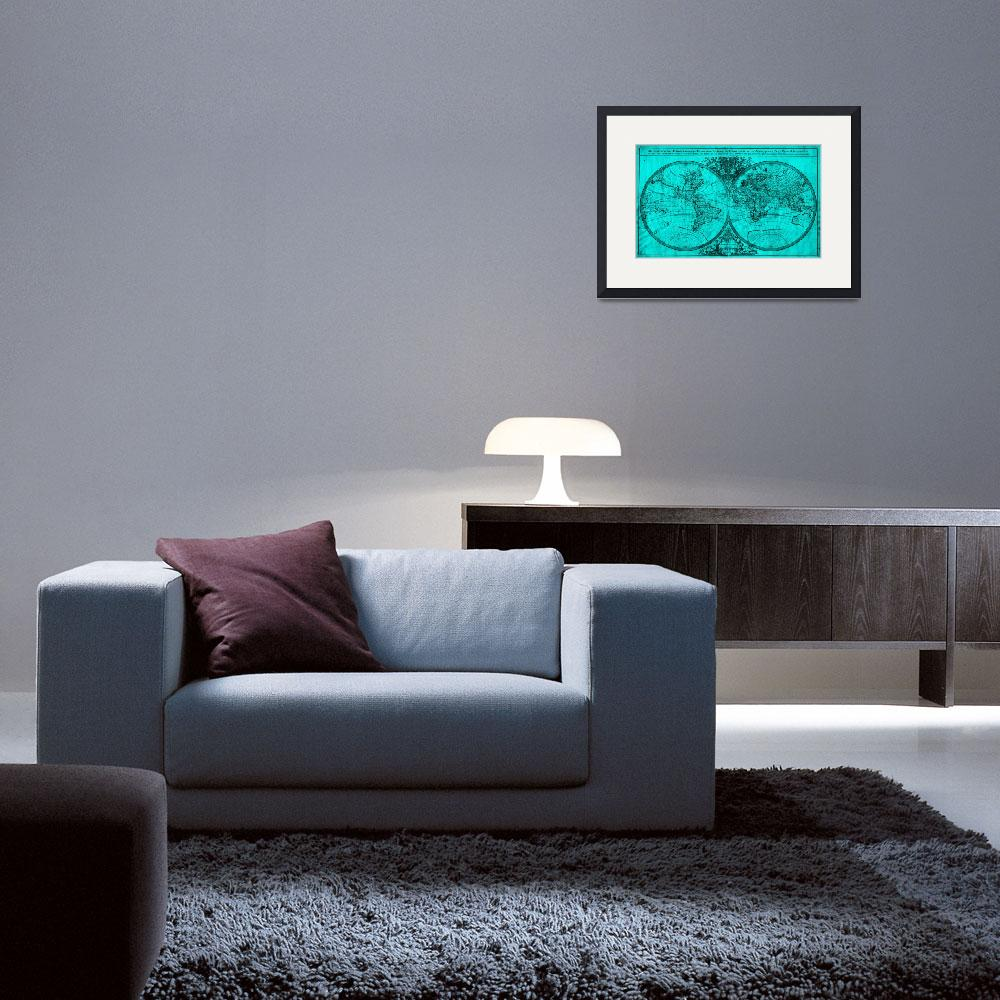 """""""World Map (1691) Turquoise & Black&quot  by Alleycatshirts"""