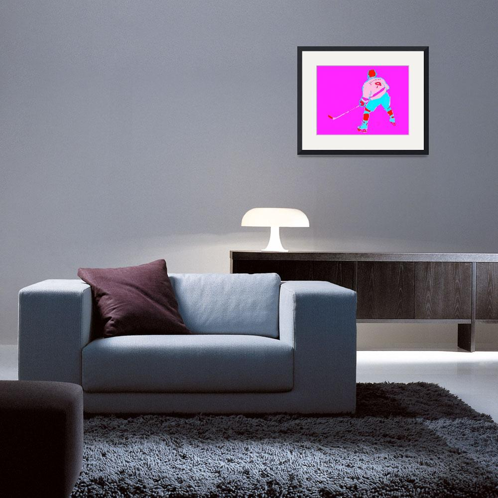 """""""Hockey Center purple red pink blue (c)""""  (2014) by edmarion"""