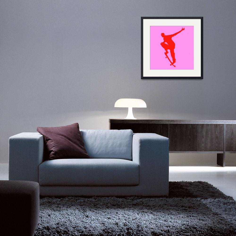 """""""Skateboarder 1 . purple red (c)""""  (2014) by edmarion"""