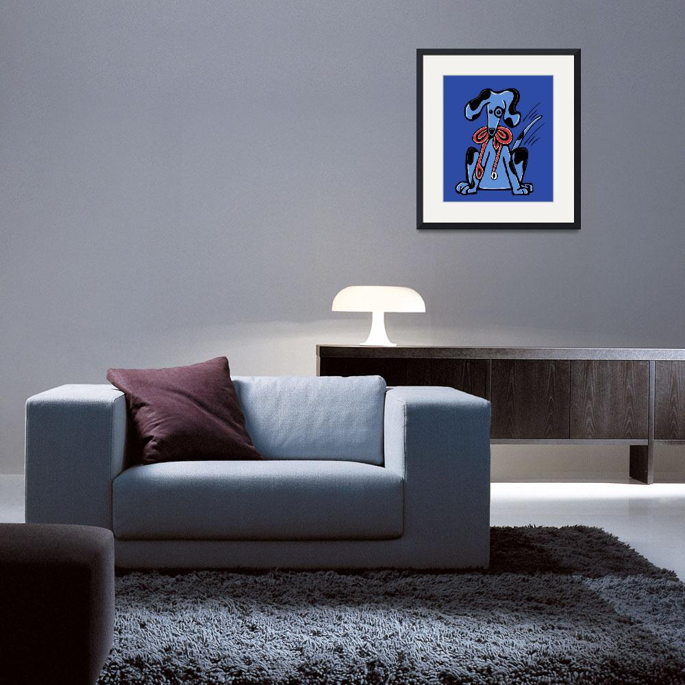 """""""Walk Me ... Whimsical Blue Dog&quot  (2008) by kristensteinfineart"""