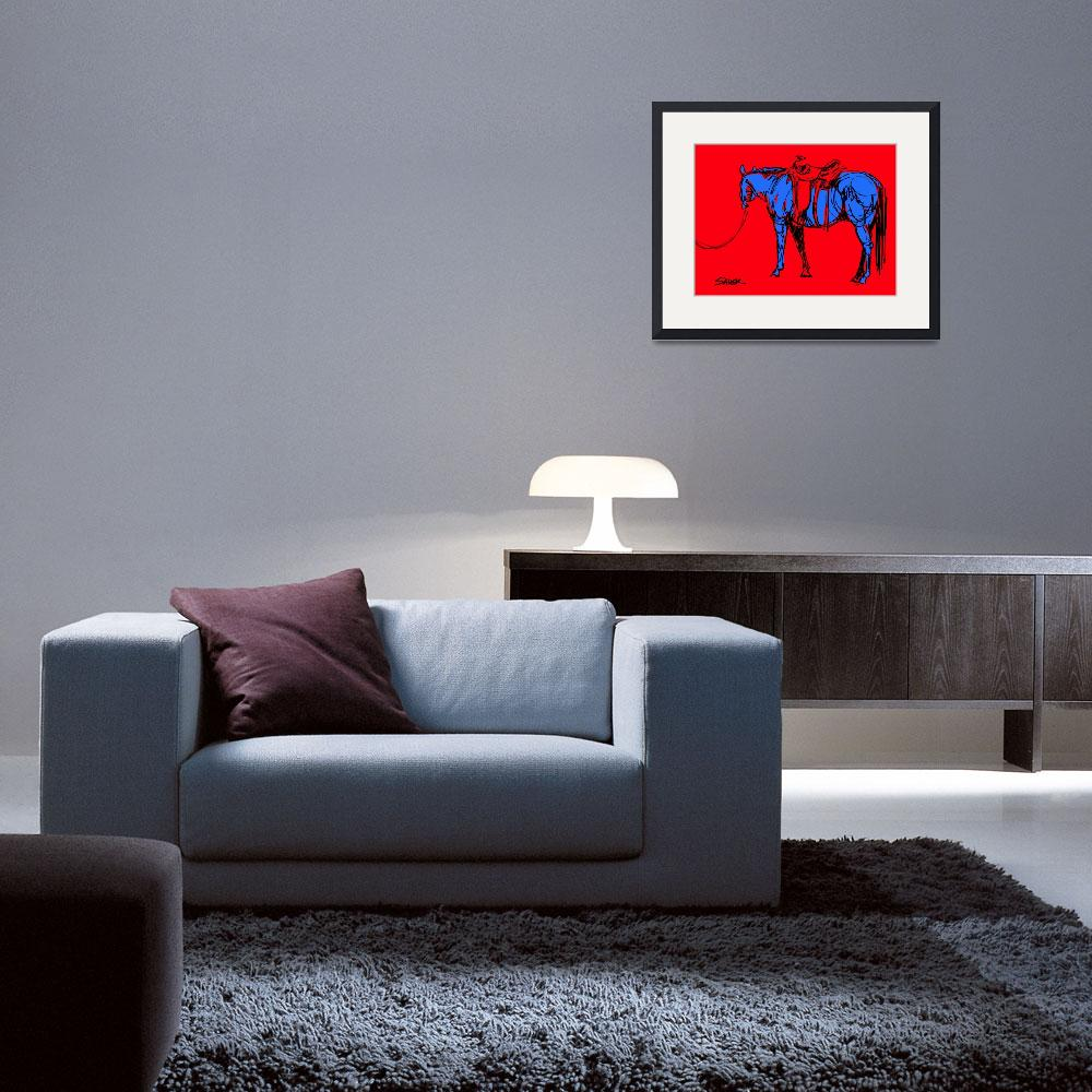 """""""I Caught a Good One (in Red/Blue)&quot  (2013) by JenSauerArt"""