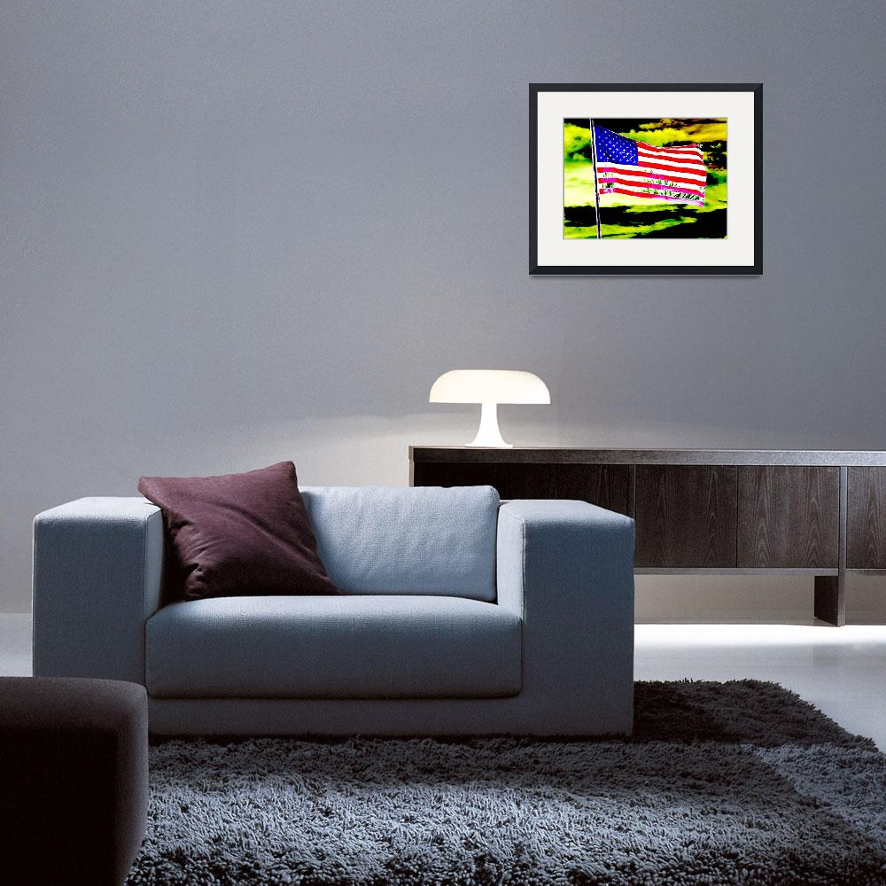 """""""Dark american flag patriotic sky earth abstract&quot  (2009) by BuehlStuff"""