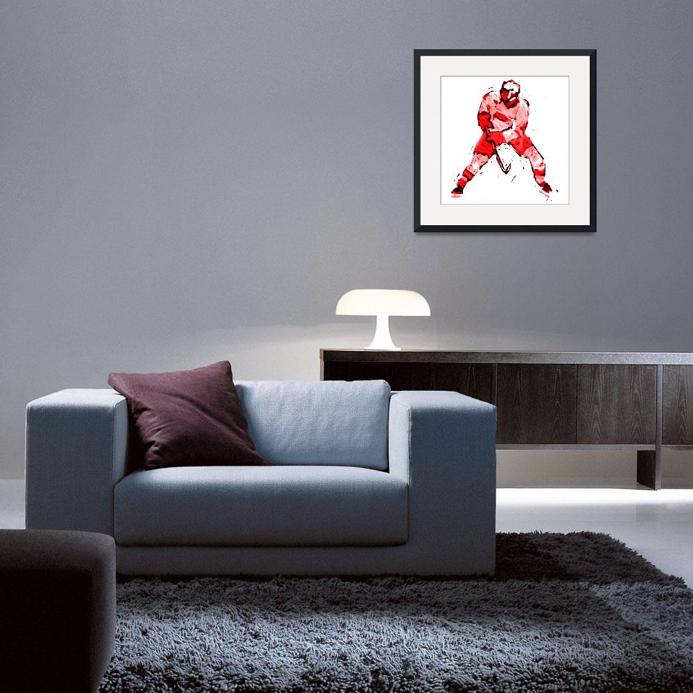 """Hockey Defenseman white red (c)&quot  (2014) by edmarion"