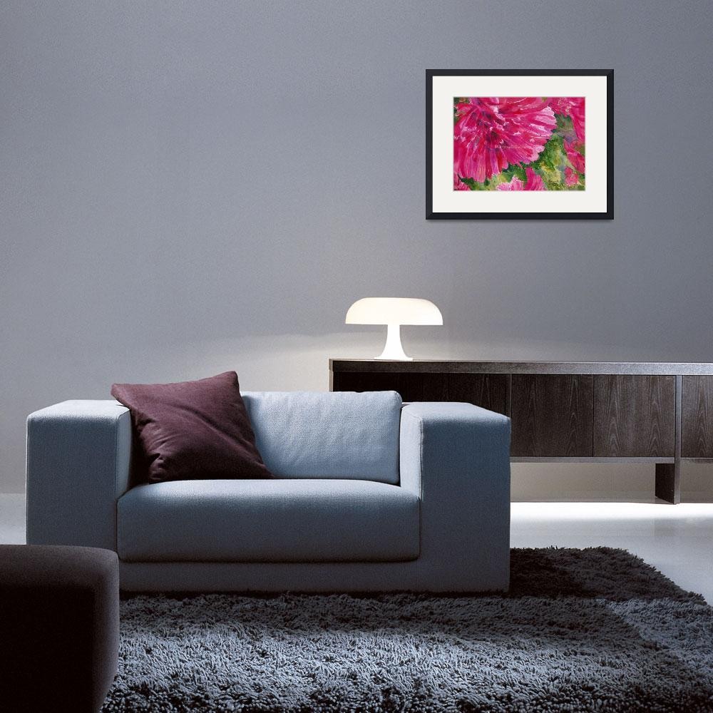 """""""Bright Pink Zinnias&quot  by MannellGallery"""