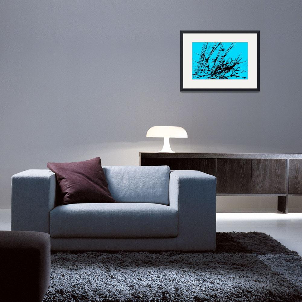 """""""Strike Out Turquoise and Black Abstract&quot  (2012) by NatalieKinnear"""