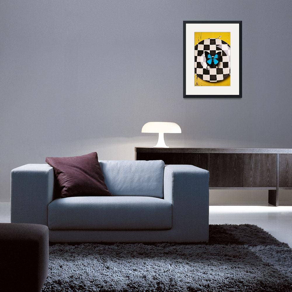 """""""Checker plate and blue butterfly&quot  (2012) by photogarry"""