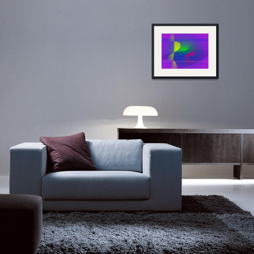 """Yellow and Purple Abstract Composition&quot  (2014) by masabo"