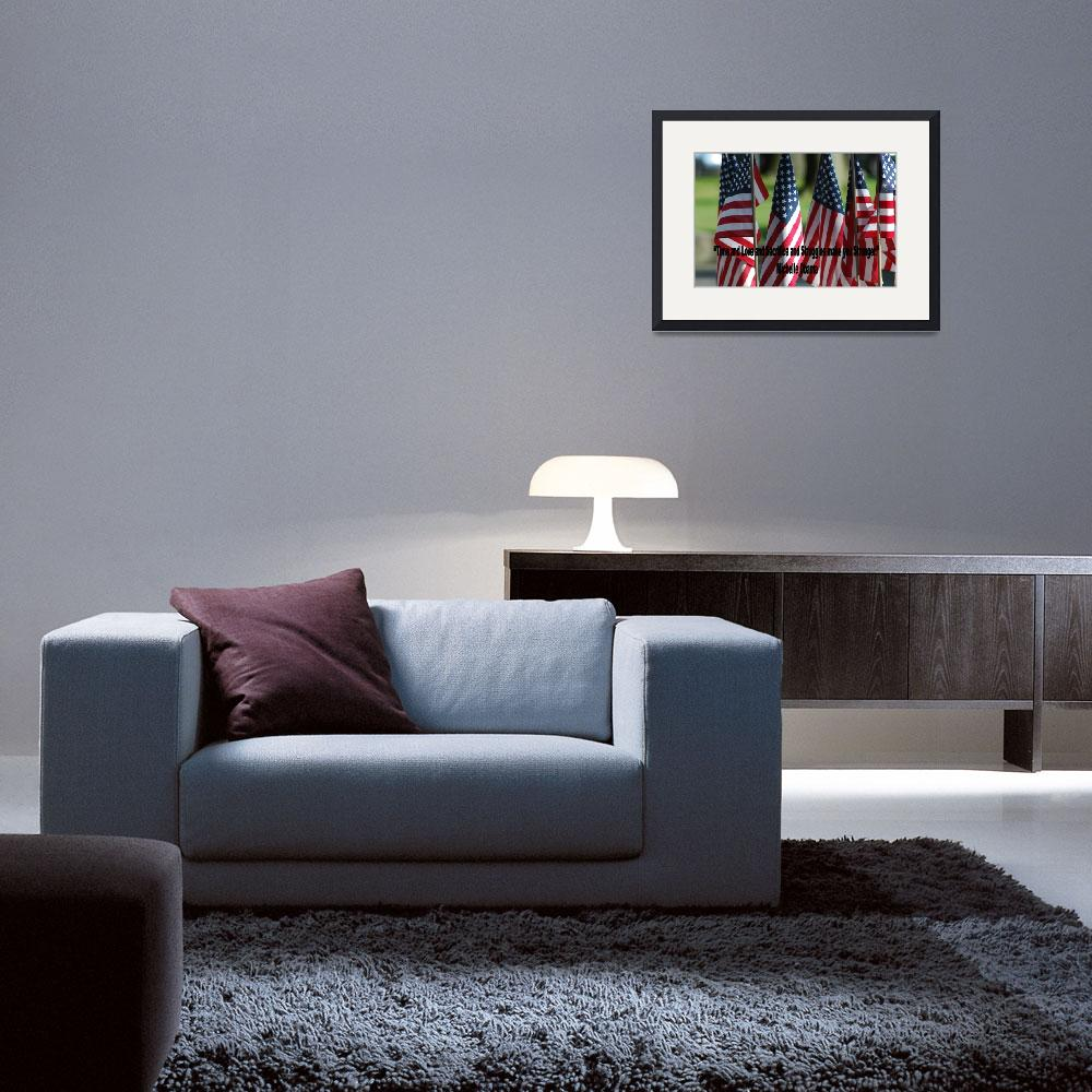 """USA6 Flag Row Michelle O Strong Quote Large Black&quot  by Obama_University"