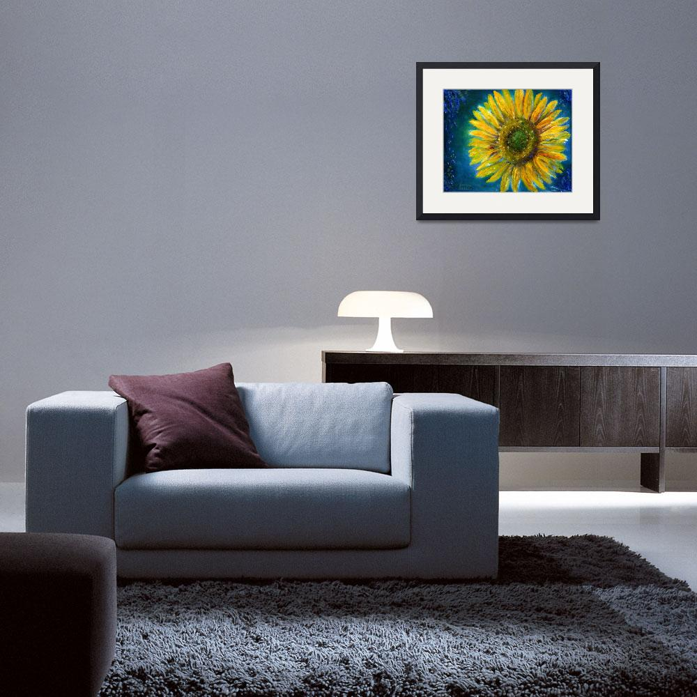 """""""Yellow Sunflower in Shimmering Blue&quot  (2004) by Lenora"""