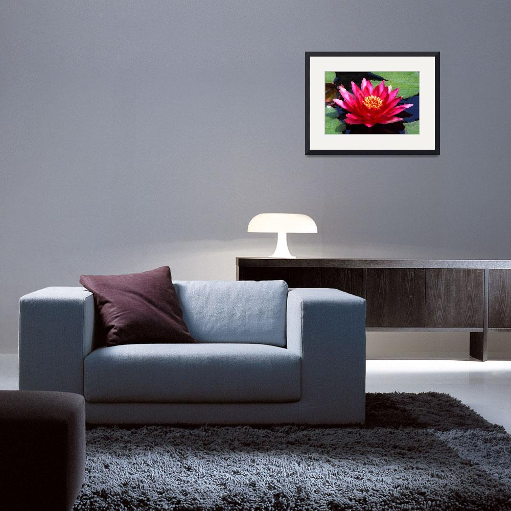 """Red Water Lily (Palette Knife)&quot  (2009) by FordLou"