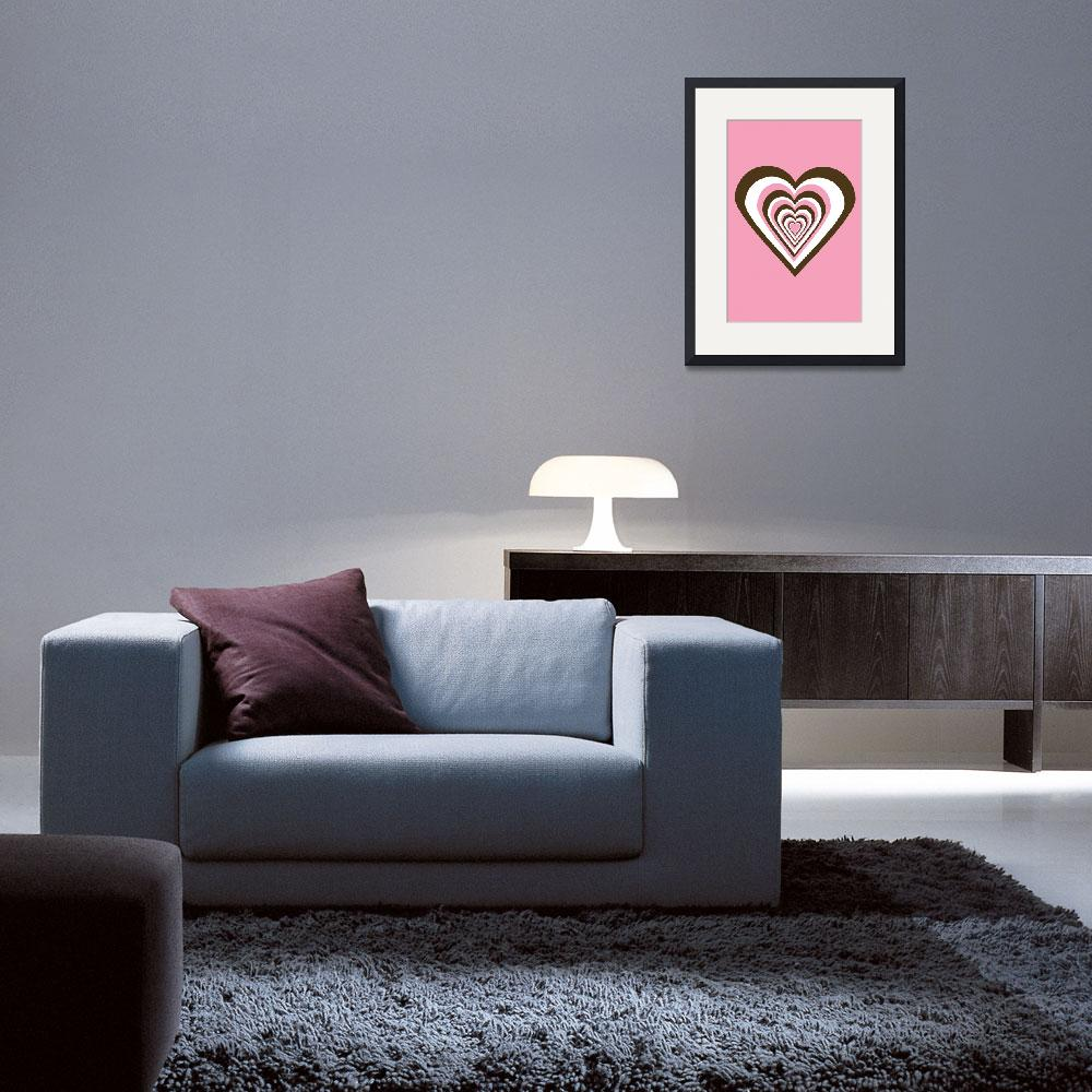 """""""Pink Brown and White Hearts&quot  (2009) by ValeriesGallery"""