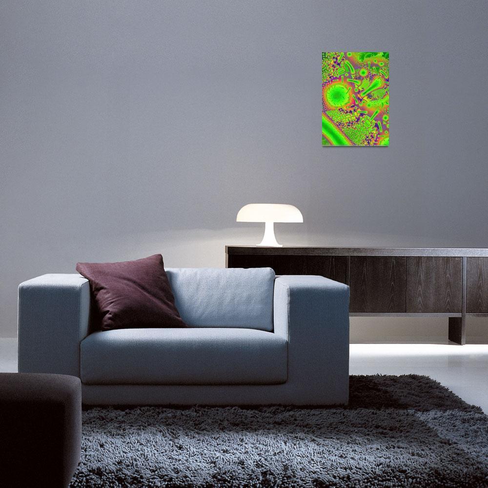 """Neon Duchroic Psychadelic Fused Glass Fractal""  (2012) by ReneeLozenGraphics"