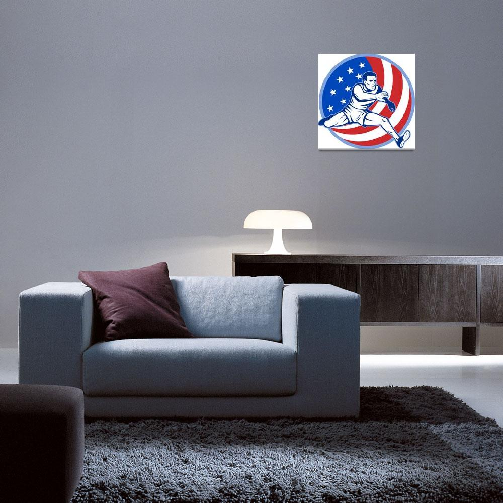 """""""track and field athlete jumping stars and stripes""""  (2013) by patrimonio"""