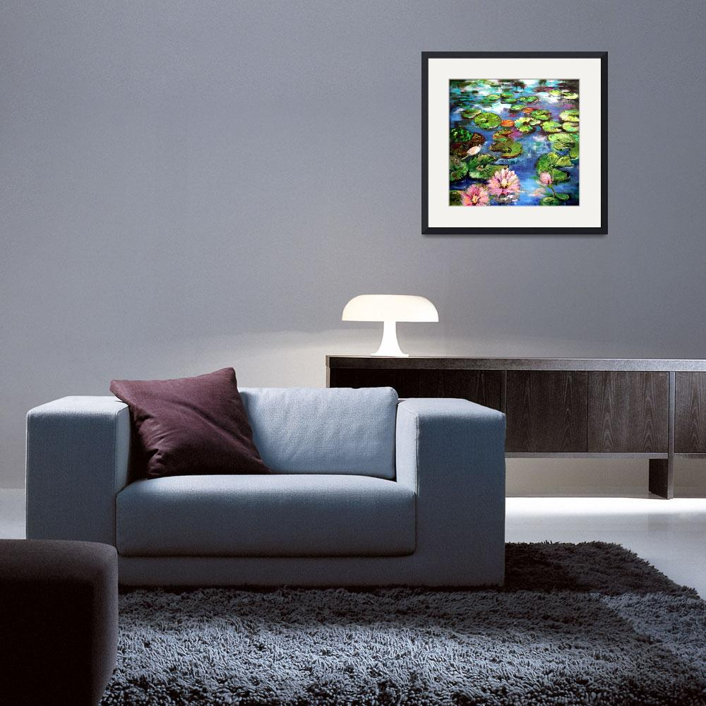 """""""Lily Pond Reflections Original Painting by Ginette&quot  (2002) by GinetteCallaway"""