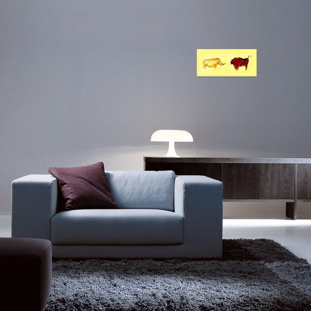 """Rhino & Bison Prehistoric Cave Art""  (2014) by TheNorthernTerritory"