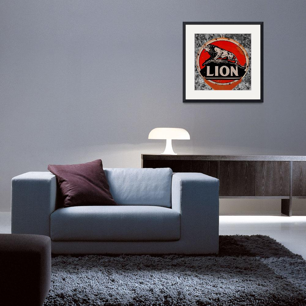 """""""Vintage Lion Oil Sign&quot  (2012) by bettynorthcutt"""