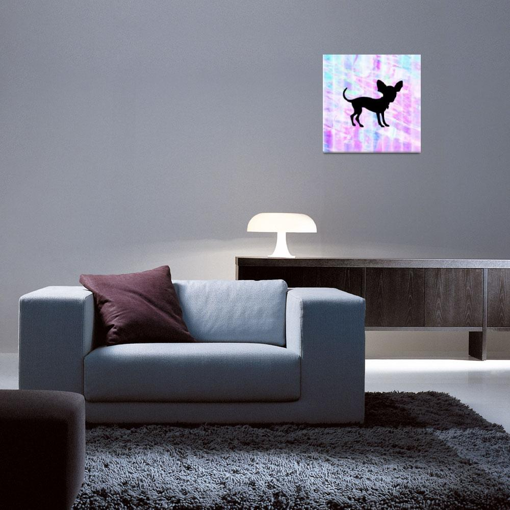 """""""Chihuahua Silhouette on Homespun Art&quot  (2013) by SignaturePromos"""