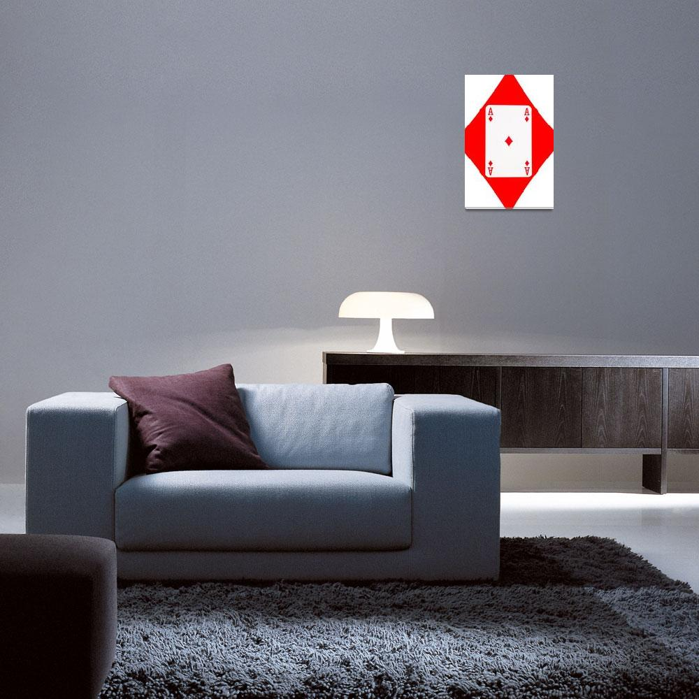 """""""Playing Cards Ace of Diamonds on White Background""""  by NatalieKinnear"""