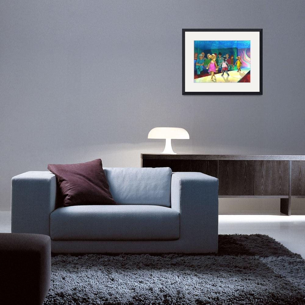 """""""teenager art,childrens room,blue,dogs,yellow&quot  (2001) by MarianneIlevitzky"""