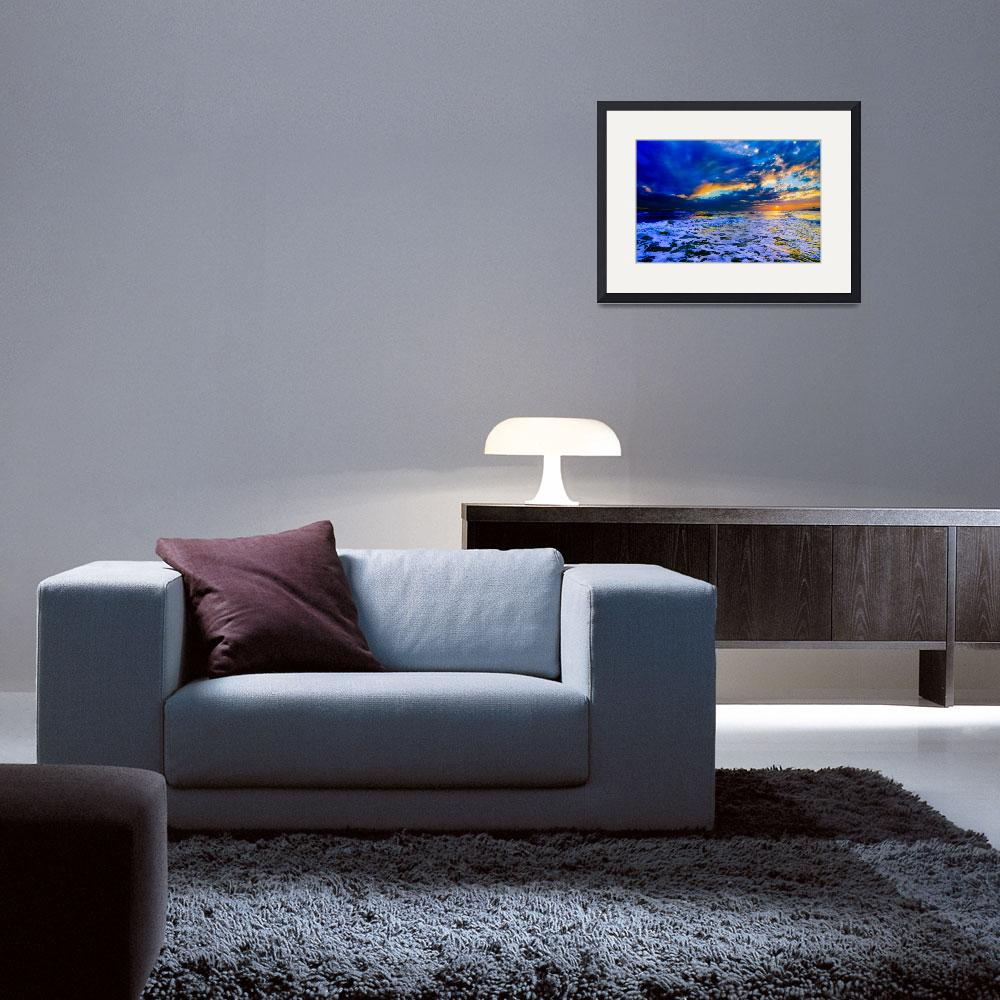 """""""Blue Beach Sunset Dark and Stormy Sea Art Prints&quot  (2014) by eszra"""