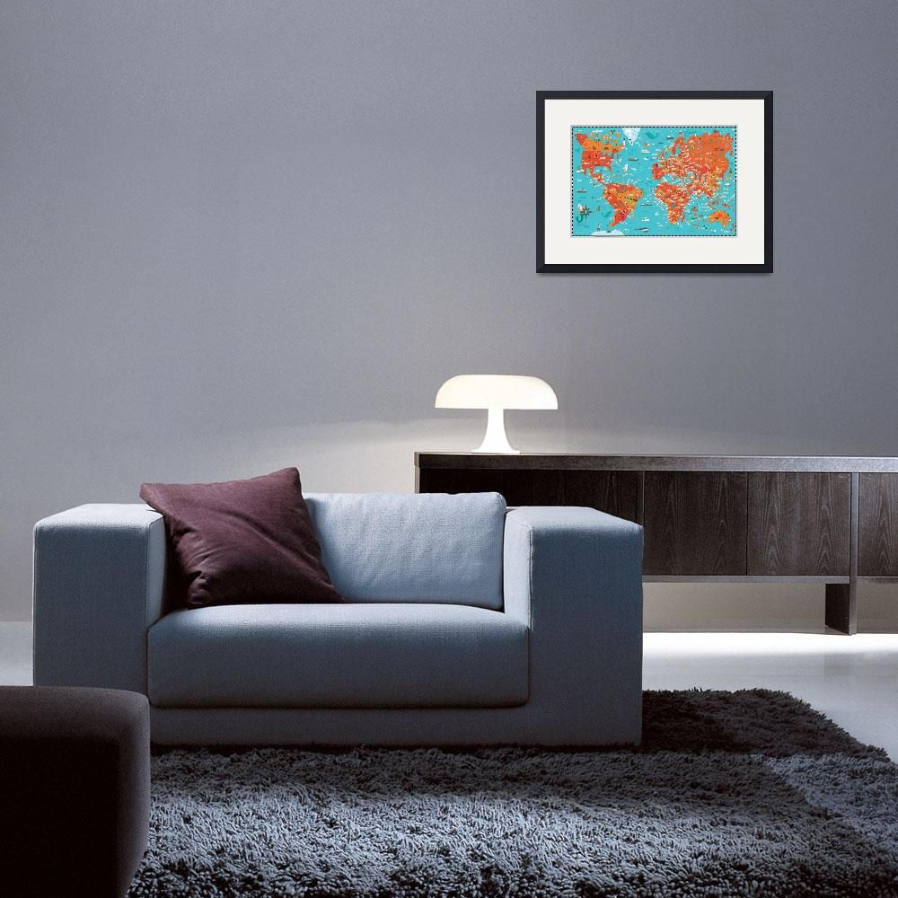 """""""Illustrated Map of the World by Nate Padavick&quot  by TheyDrawandCook"""