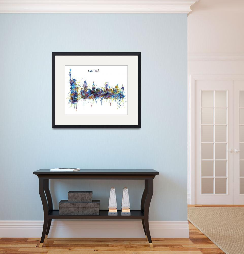 """New York Skyline Watercolor&quot  (2015) by MarianVoicu"