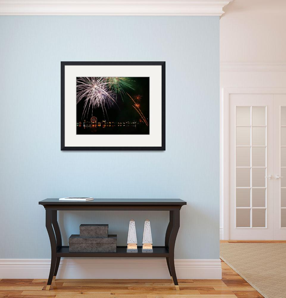 """""""Fireworks at the Olympia Lake Fair, Olympia Washin&quot  (2010) by Jackies-world"""